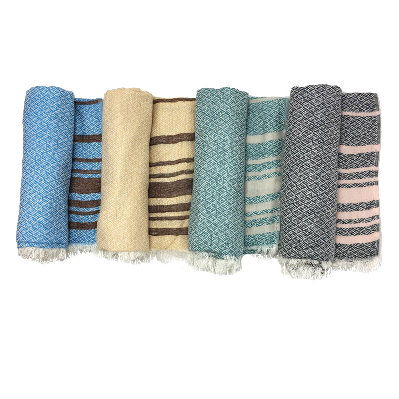 Shiny Striped Weaving Scarves | Lightweight Scarves