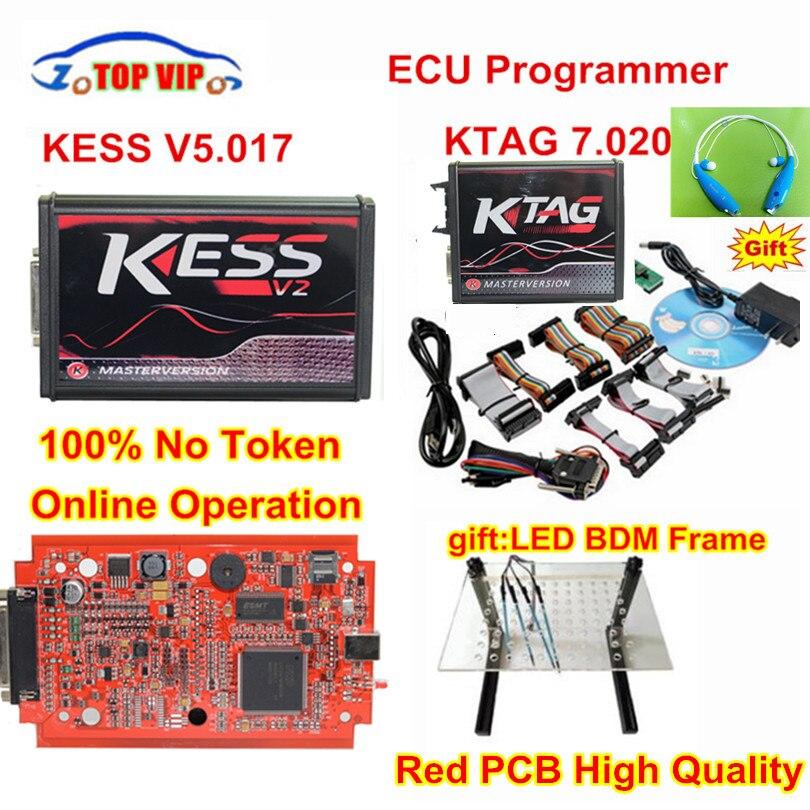 Интернет-V2.47 ЕС красный Kess V5.017 OBD2 менеджер Тюнинг Комплект KTAG V7.020 4 светодиодный Kess V2 5,017 BDM кадр K-TAG 7,020 ЭКЮ программист