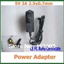 200 шт 5В 2A 2,5x0,7 мм Зарядное устройство Мощность Адаптеры CE, FC по ограничению на использование опасных материалов в производстве сертификат для планшетный ПК с системой андроида ПК Q88 Yuandao N70 Рамос W30HD по DHL