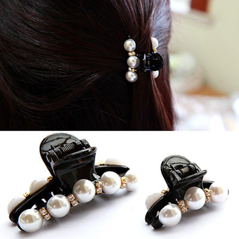1 X Elegant Black Hair Claw Clip Crystal Pearl Plastic Hairpin Barrette Hair Band Accessories For Women Girls Lady Hair Clip
