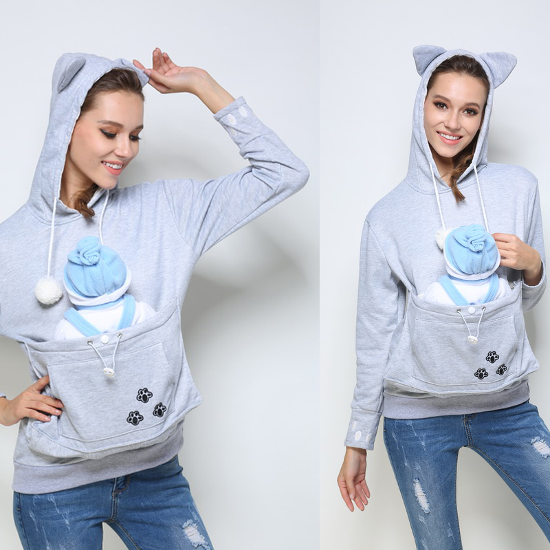ФОТО S-4XL Kangaroo Pouch Japanese Style Large Pocket Hoodie WomensPet Holder Cat Dog Pouch Carriers Pullover maternity Hoodies   465