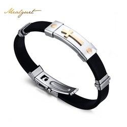 Meaeguet cross bracelet for men women black silicone bracelets stainless steel spring clasp jewelry simple design.jpg 250x250
