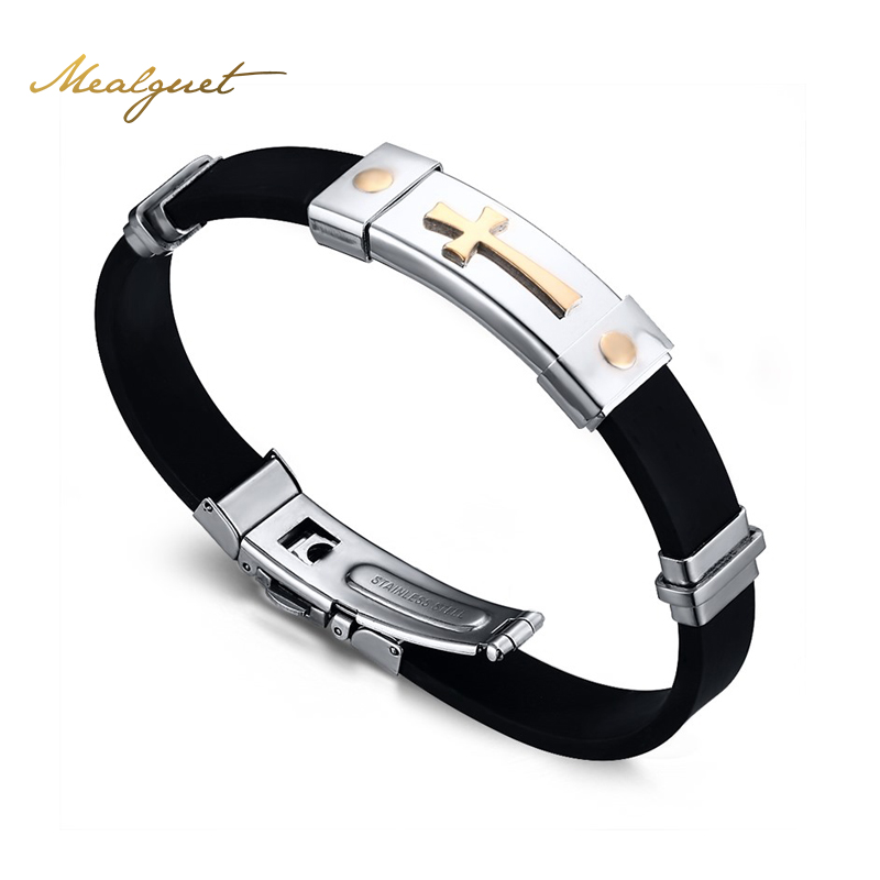Meaeguet Cross font b Bracelet b font For Men Women Black Silicone font b Bracelets b
