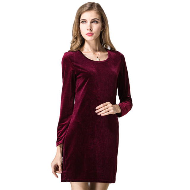 fa18096c5d Autumn Velvet Dresses Wine Red Elegant Winter Slim Fashion Casual Women  Vestidos Robe Gowns Plus Size Clothing Long Sleeve S211