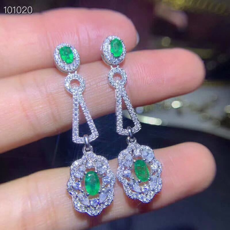 SHILOVEM 925 sterling silver Natural green Emerald drop earring fine Jewelry women wedding new wholesale de03050304811agml