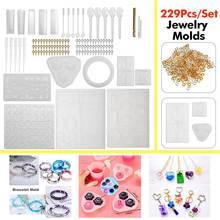 229pcs Pcs DIY Bracelet Pendant Jewelry Casting Molds Silicone Resin Jewelry Molds Set Kit DIY Making Tool Crafting Pendant
