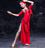 Girls belly dance suit Kids belly dance clothes High end belly dance performance suit girls 4pcs set dress/bra/belt/headdress