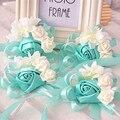 10 шт./лот tiffanyblue невесты наручные цветы букеты невесты сестры рук цветы для свадьбы или партии корсажи