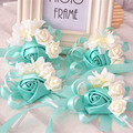 10 pieces/lot bride tiffanyblue wrist flowers bouquets bridesmaids sister hand flowers for wedding or party corsages