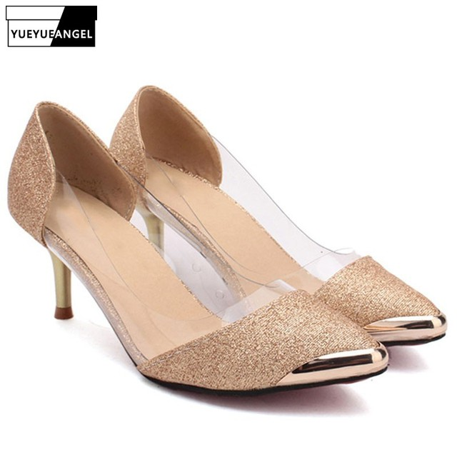 52c696969515 Ladies Fashion Pointed Toe Glitter Gorgeous Wedding Bridal Evening Party  Kitten High Heels Shoes Plus Size Black Gold Silver