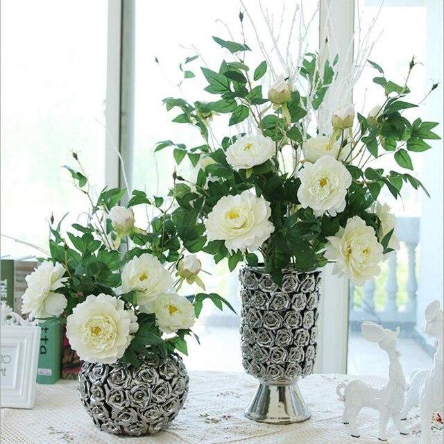Buatan Peony Bouquet Bunga Dekorasi Rumah Ruang Tamu Palsu Dekoratif Pernikahan Plastik