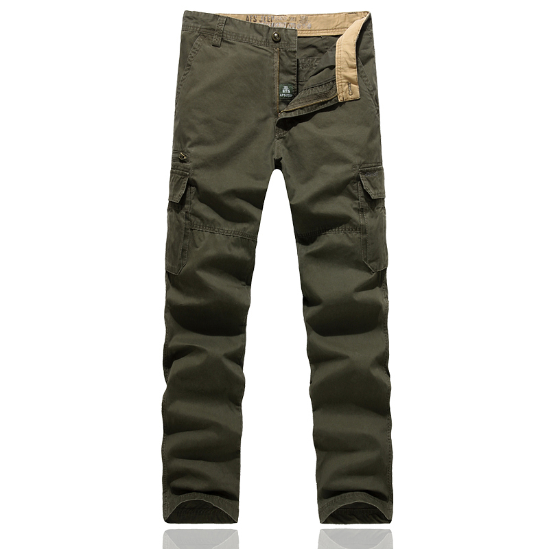 Mens Cotton Pants ZHAN DI JI PU Combat Multi-Pockets Casual Loose Full Length Brand Army Cargo Baggy Pants Work Trousers No Belt