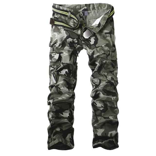 Pantalones Cargo del Camuflaje de Los Hombres Pantalones Con cinturón