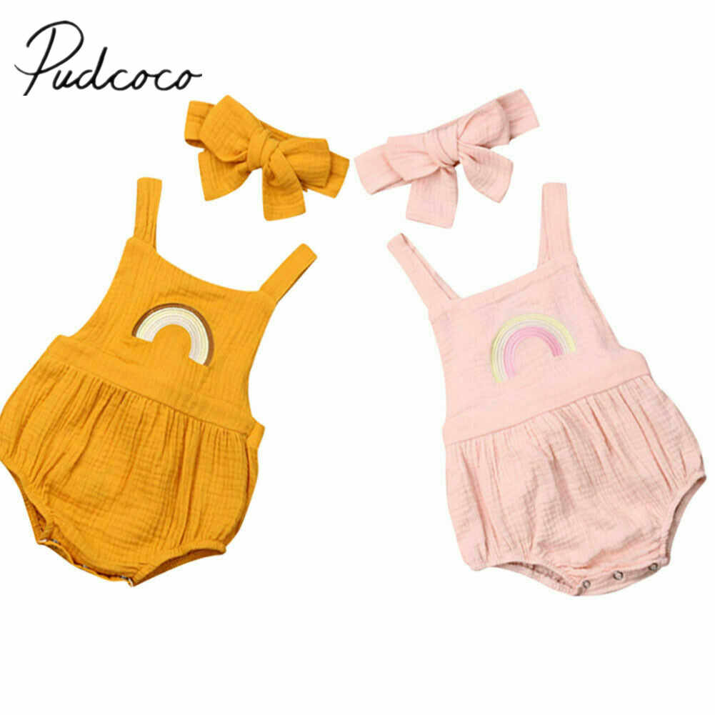 2019 Bebê Roupas de Verão Menina Meninos Macacões de Algodão Do Bebê Recém-nascido Headband 2 pcs Set Rainbow Bordado Backless Sunsuit Bodysuit