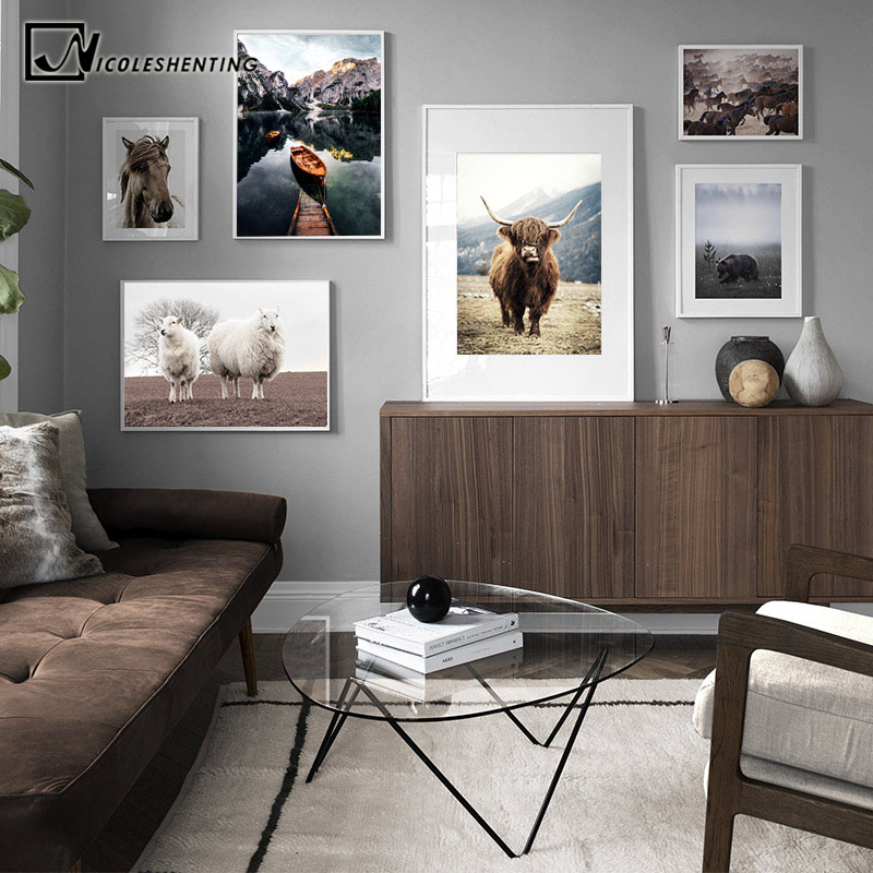 The Latest  Scandinavian Poster Nordic Style Print Sheep Horse Cattle Animal Wall Art Canvas Painting Field Nat