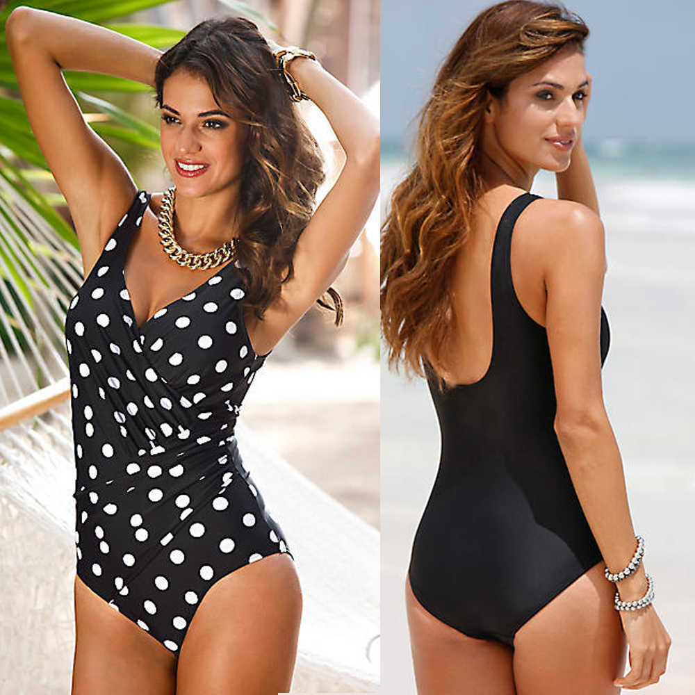 7411946077 Swimwear 2018 New One Piece Swimsuit Women Plus Size Swimwear Retro Vintage  Bathing Suits Beachwear Print