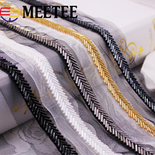 2Yards Herringbone Beaded Lace Trim Mesh Ribbons Trimming Garment Collar Decor Costume Dress Applique DIY Crafts KY940