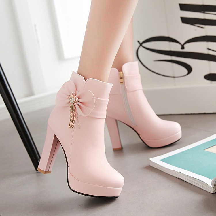 5_2016 Autumn Korean Womens Pink Dress Booties Shoes Princess Bow High Heels Black And White Platform Ankle Boots For Winter