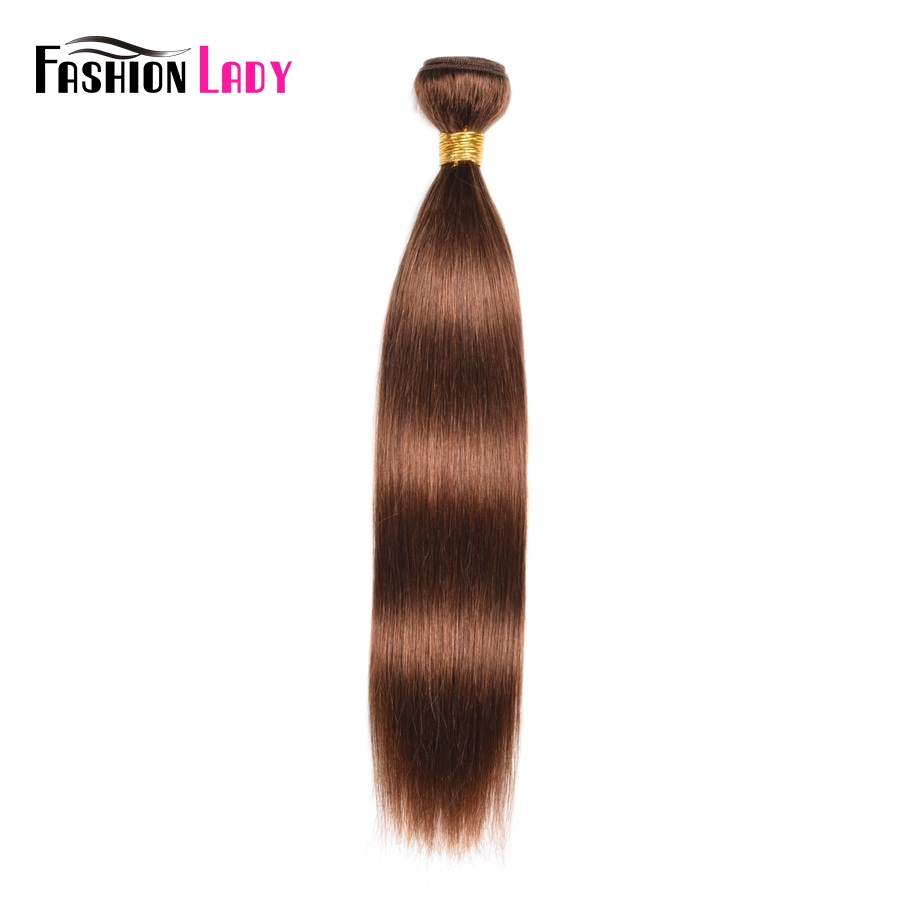 FASHION LADY Pre-Colored Human Hair Extensions Brown #4 Peruvian Straight Hair 1/3/4 Bundle Per Pack Non-Remy