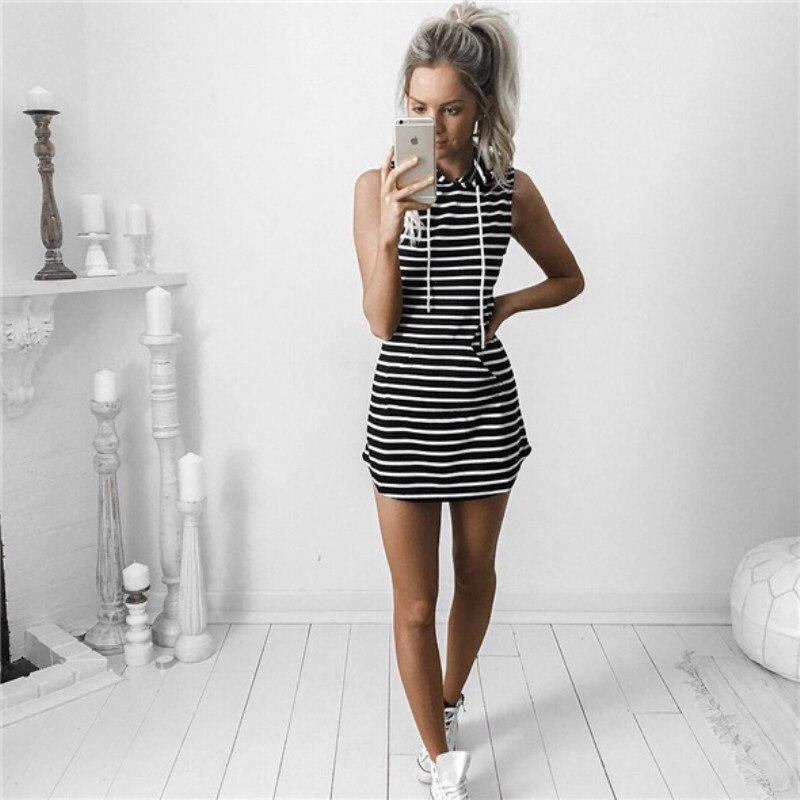 ALI shop ...  ... 32992903280 ... 3 ... Oufisun Summer Casual Sweatshirt Sleeveless 2019 Women Clothing Hooded Drawstring Collar Pocket Simple Party Mini Tank Dress ...