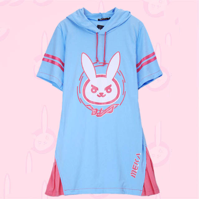 Online Shop 2017 Kawaii D.va Long Patchwork T-shirt Women Hooded Dva T- shirts Hooded Ladies Diva Hana Song With Ears D.va Pajamas  41b3ce2bc