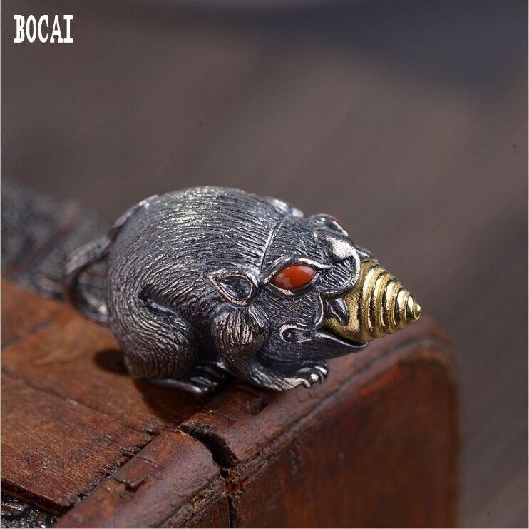 Véritable S990 solide en argent sterling Vintage artisanat thaï en argent en trois dimensions broche or rat pendentif accessoires faits à la main