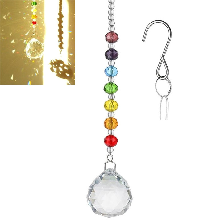 Crystal:  Lucky Feng Shui Crystal Ball Prisms Pendant Pendulum Hanging Window Home Decor - Martin's & Co