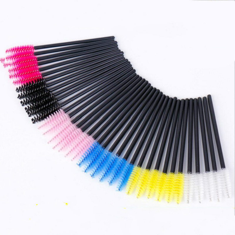 100pcs Disposable Eyelash Eye Lash Extension Brush Mascara Wands Brushes Colorful Permanent Makeup Accessories 6 Colors 2016 new arrival black dual purpose eyelash assist device extension beauty supplies brow brush lash comb makeup brushes tools