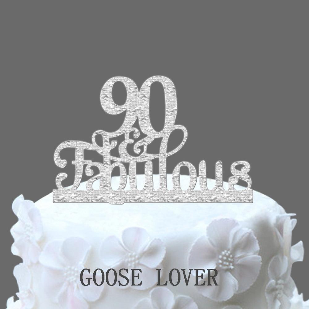 Fine 90Th En Fabulous Cake Topper 90Th Birthday Party Decoratie Acryl Personalised Birthday Cards Veneteletsinfo
