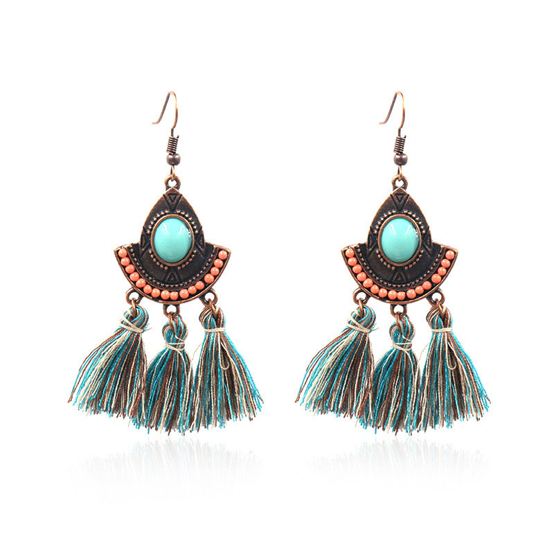 Women Vintage Ethnic Long Tassel Earrings With Orange Beads Fit To Daily Life