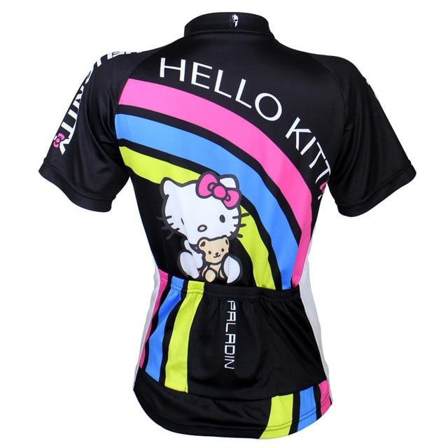 New Hello Kitty cycling jersey best MTB road bike jerseys spring and summer  black short sleeve cartoon cycling jersey 540637b85