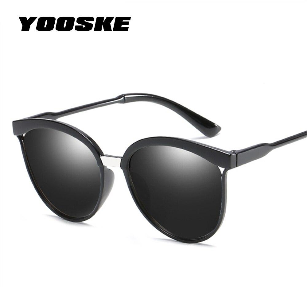 YOOSKE gato ojo gafas de sol mujer hombres Vintage espejo gafas de sol mujer marca diseñador Retro gafas de sol gafas UV400