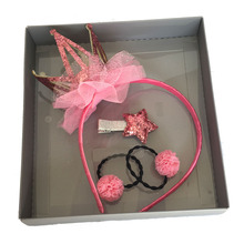 4 Pcs/set Baby Girls Hairbands Headband Children Elastic Hair Ties Glitter Clips Set Accessories Headdress