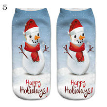 1 pack = 10PC = 5 pairs New Christmas Women's Sock Slippers Wholesale Fashion New 3D Printing Pattern Female Boat Socks SD10