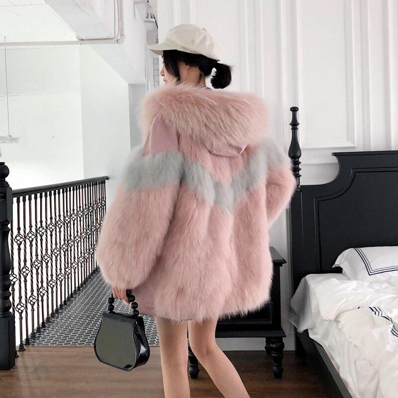 Automne Double Rose pink Manteau De 2018 Réel Abrigo D'hiver Parkas Mujer Porter Renard Femmes Veste My1085 Fourrure Blue Parka Coréenne côté l1JcKF