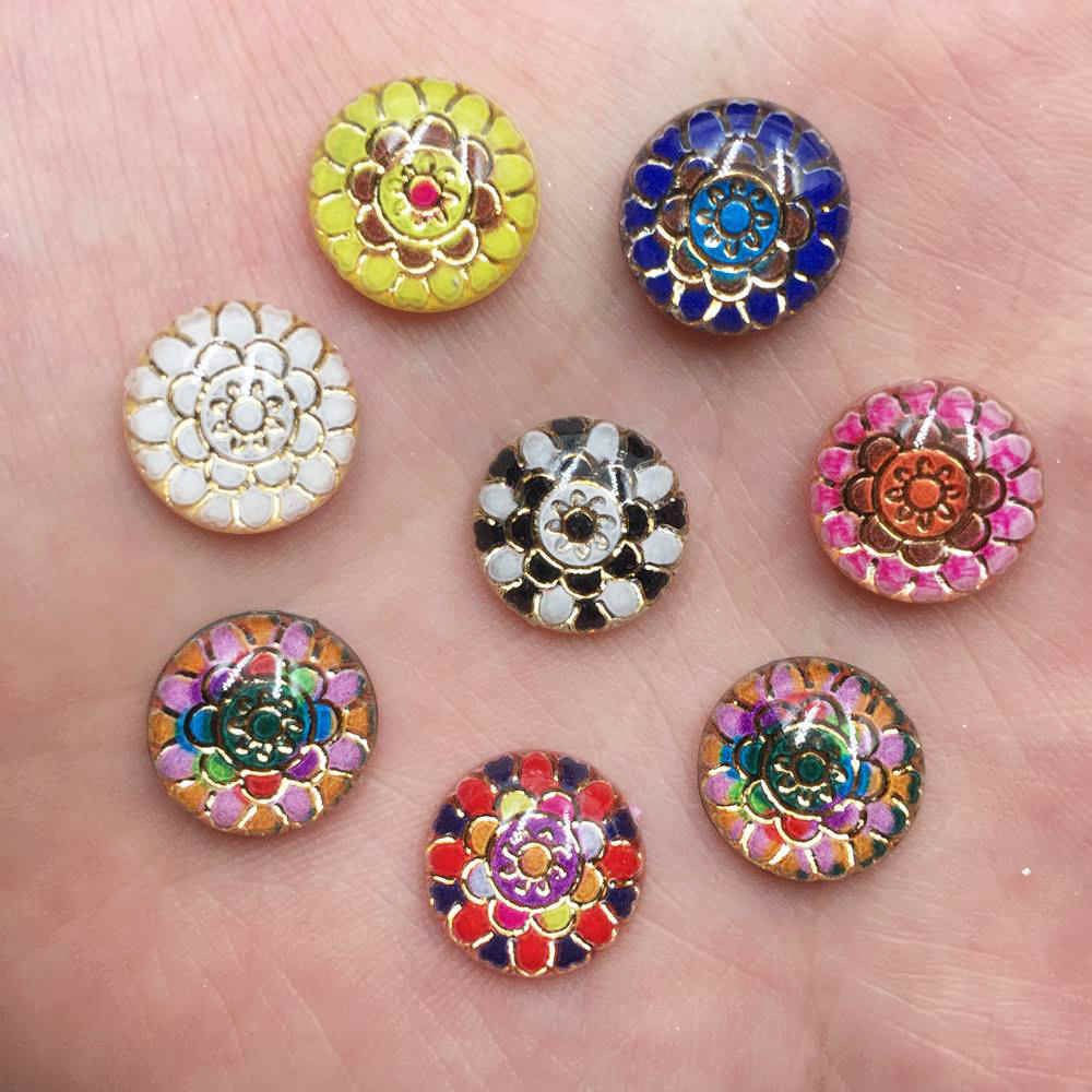 Mixed 60pcs Resin 12mm Round Colorful Flower bead Flat Back Rhinestone Scrapbook DIY Fashion Jewelry bead Crystal  Accessories