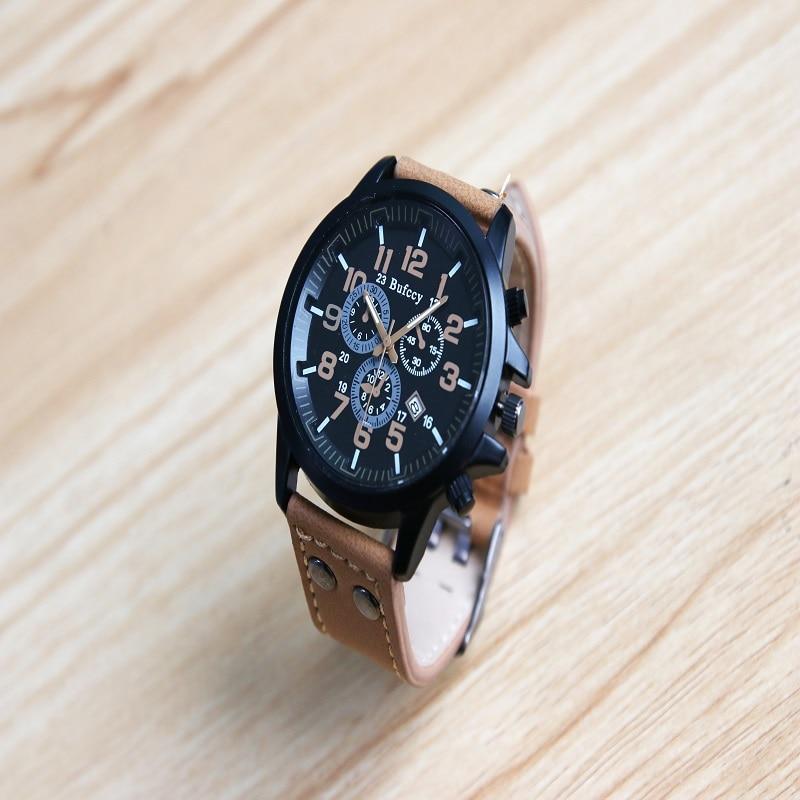Mens Roman Numerals Brown Glass Watches Men Luxury Leather Analog Quartz Business Wrist Watch Men's Clock Relogio brief faux leather roman numerals waterproof watch