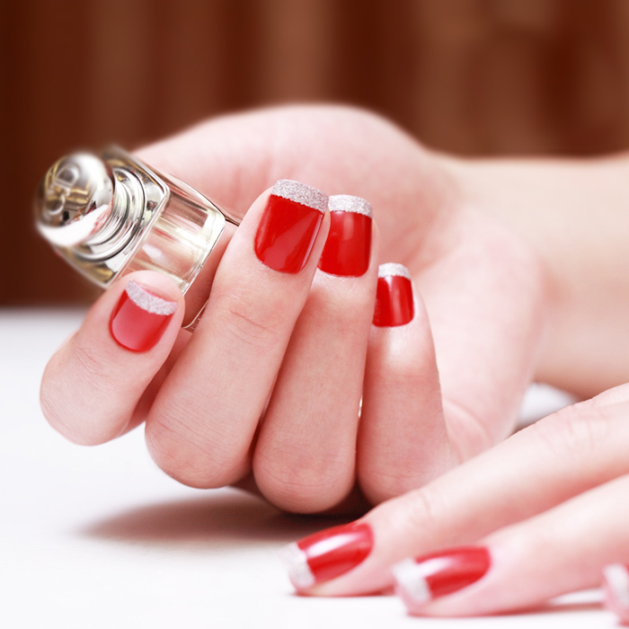 Red French Manicure Girl About Town False Nails 24 Full Tips Medium