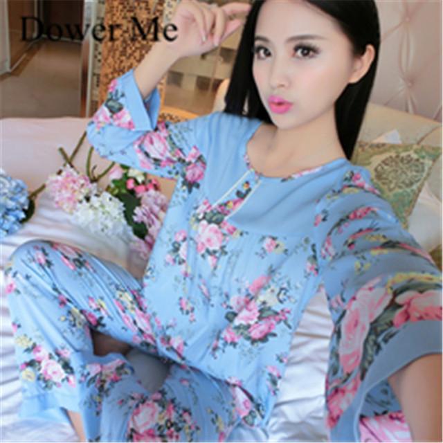 2017 Primavera Barato Conjuntos de Pijamas de Algodón de Manga Larga de Las Mujeres ropa de Noche de Otoño Pijamas Suaves, feminino Pijama Homewear ropa de Dormir de Algodón Conjuntos