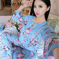 2017 Spring Cheap Cotton Pajama Sets Long Sleeve Women Sleepwear Autumn Soft Pajamas ,Pijama feminino Homewear Cotton Sleep Sets
