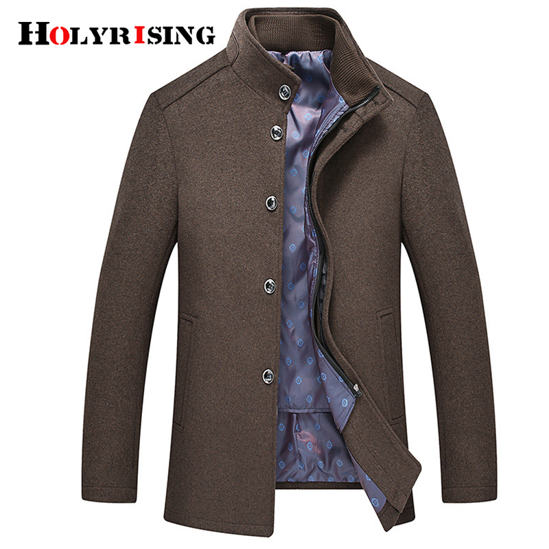 Holyrising Men Wool Coats Business OverCoats Stylish Casaco Masculino Coat Turn Collar Coat For Men Warm Male Clothing 18923-5