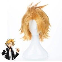 Peluca Boku no Hero Academia Kaminari Denki para hombre y mujer, disfraz de Cosplay de My Hero Academia, cabello sintético corto, pelucas de juego de rol para fiesta