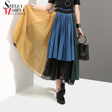 2018 Summer Multicolor Women Patchwork Style Pleated Chiffon Skirt Ankle Length