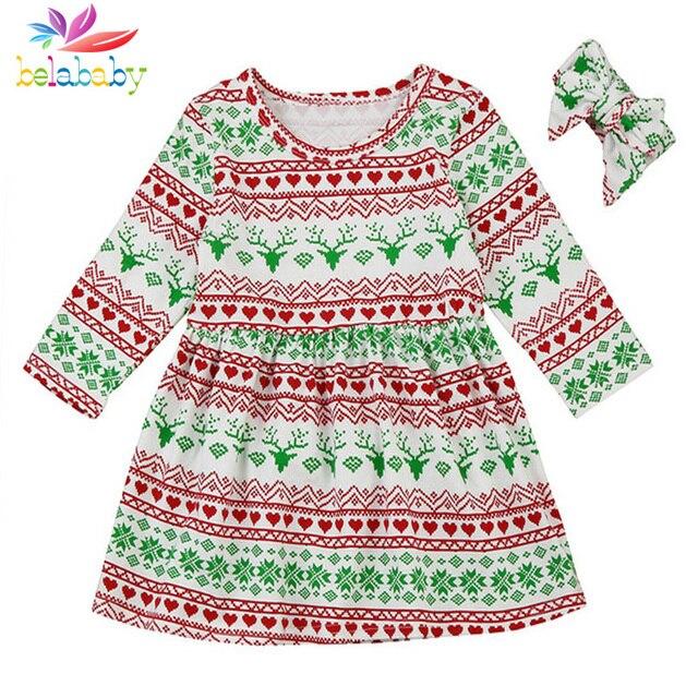 7d255e75db21 Belababy Baby Girl Dress Christmas Cartoon Princess Dress Long Sleeve Cotton  Clothes For Children Autumn Toddler Floral Dresses