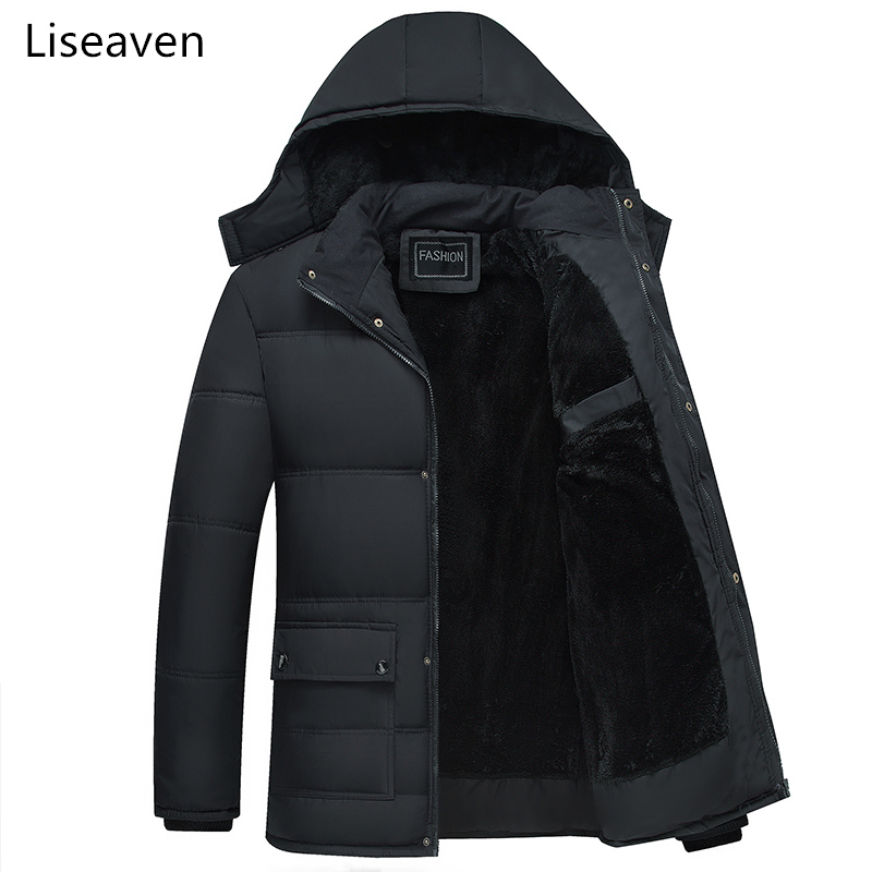 Liseaven   Parka   Casual Thick Warm Winter Jacket Men Coat Jackets Detachable Hat High Collar   Parkas   Lining Coats