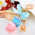 3 Colors Women Alloy Gold Plated France Big Macaroon Macaron Cke Effiel Tower Keychain Bowknot Bag Charm Pendant Key Ring Holder