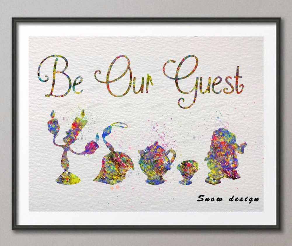 Original watercolor Be My Guest Beauty and Beast poster print pictures canvas painting Abstract wall art home Decoration gifts-in Painting u0026 Calligraphy ...  sc 1 st  AliExpress.com & Original watercolor Be My Guest Beauty and Beast poster print ...
