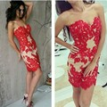 Dressgirl Red Cocktail Dresses 2017 Sheath Sweetheart Appliques Lace Beaded Backless Short Mini Homecoming Dresses