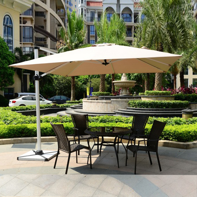 3x3 Meter Outdoor Sun Umbrella Parasol Garden Furniture Cover Patio  Sunshade 360 Degrees Rotation( No