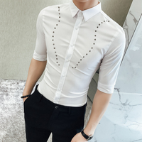 2018 Summer Wear Rivet Man Seven Part Sleeve Casual Shirt Self Cultivation Korean In Fashion Inch